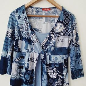 LE grenier MEdium Blue abstract pattern Casual Blouse